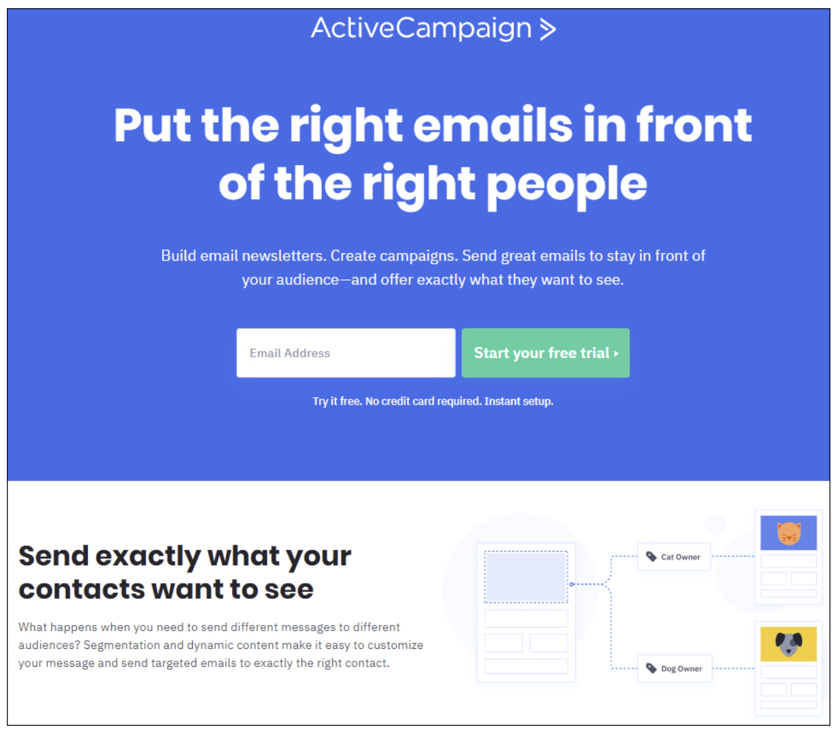 Landing page being used by the email service provider ActiveCampaign