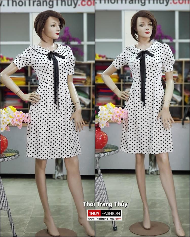 Váy xòe midi vải lụa chấm bi đen trắng dài qua gối V708 thời trang thủy sài gòn