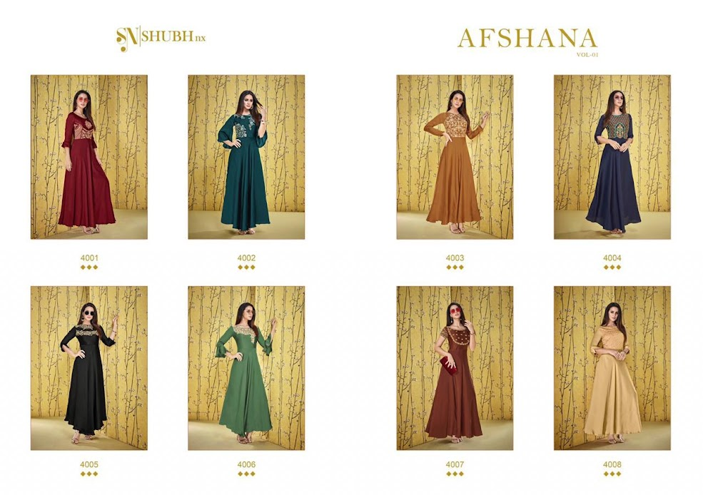 Buy Shubh Nx Afshana Vol 1 Floor Length Kurtas Catalog Onlin