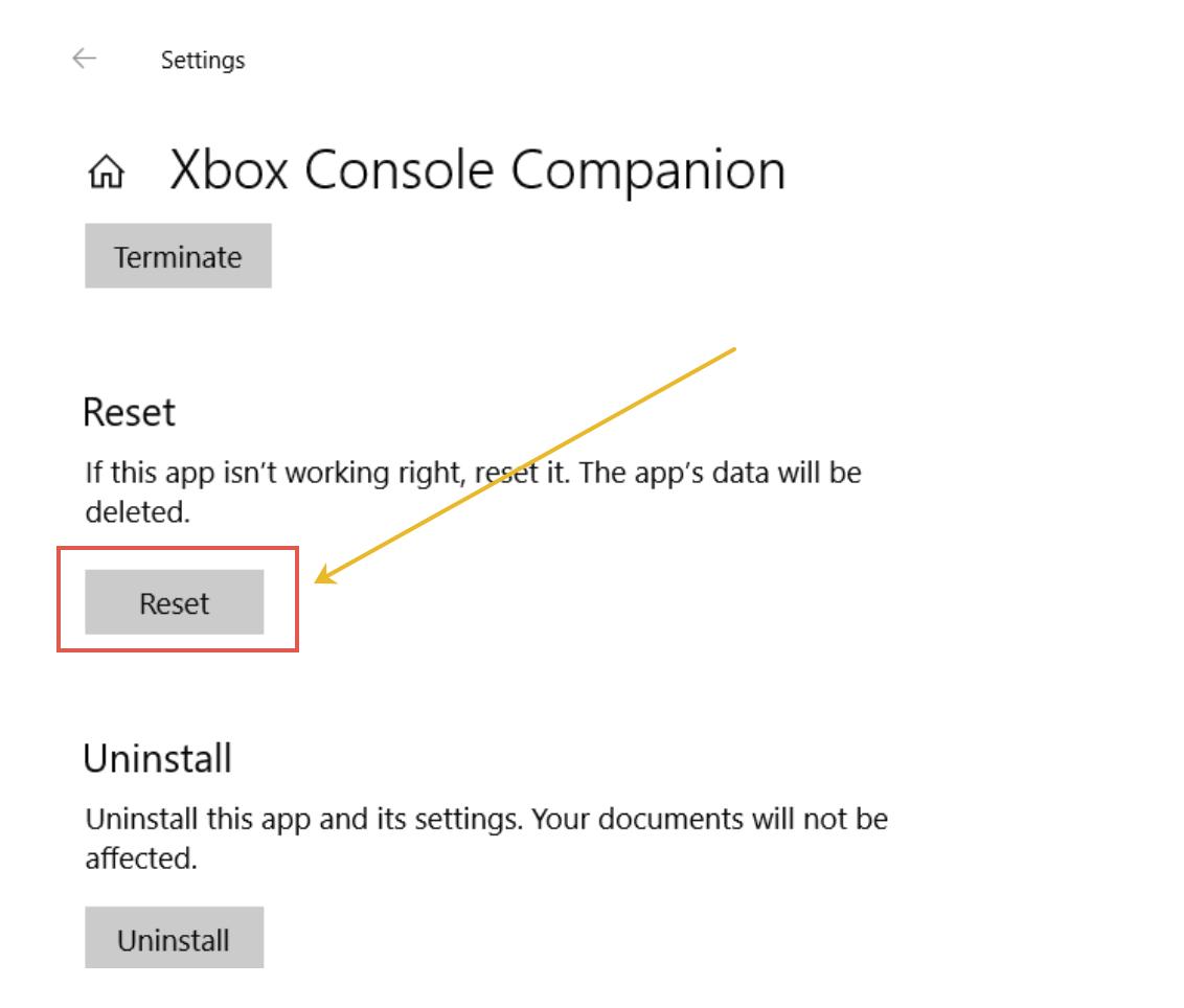 Reset Xbox Console Companion app