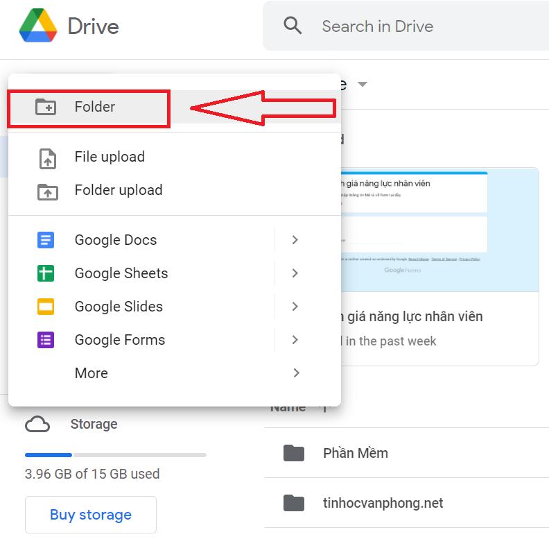 Cách tạo thư mục trên Google Drive