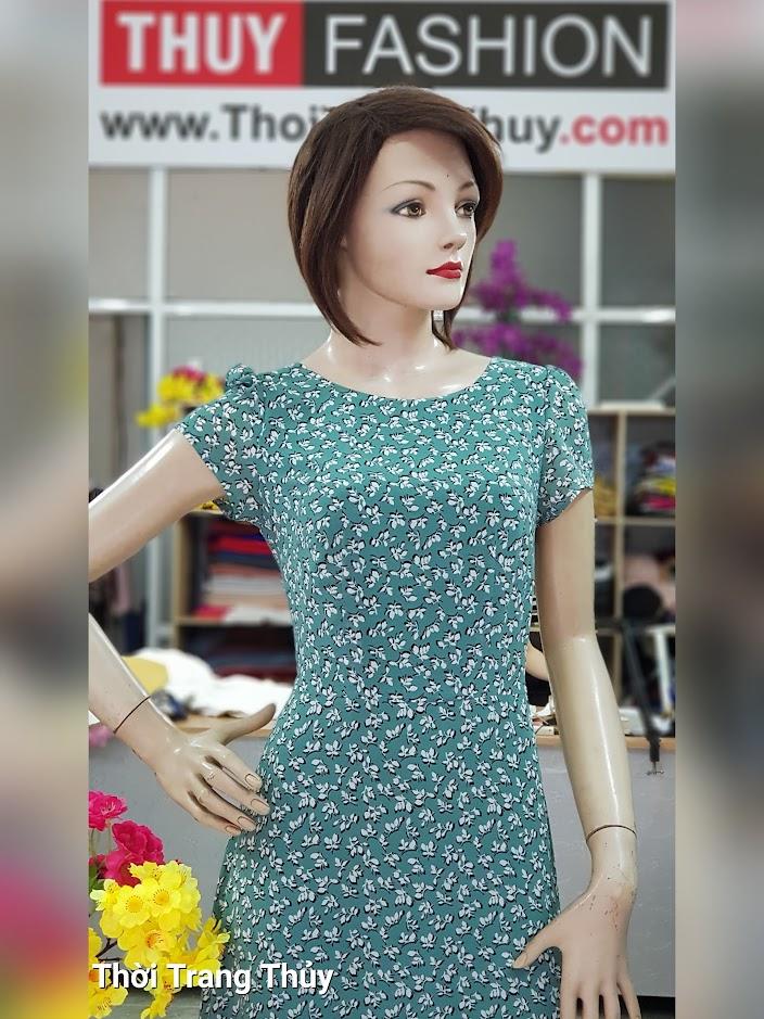Váy đầm maxi vải chiffon hoa nhí màu xanh V710 thời trang thủy hà nội