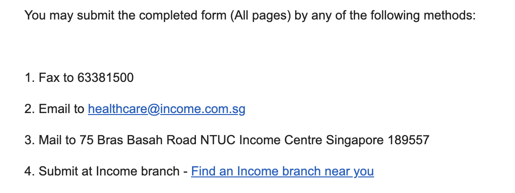 NTUC Income health insurance and faxing!