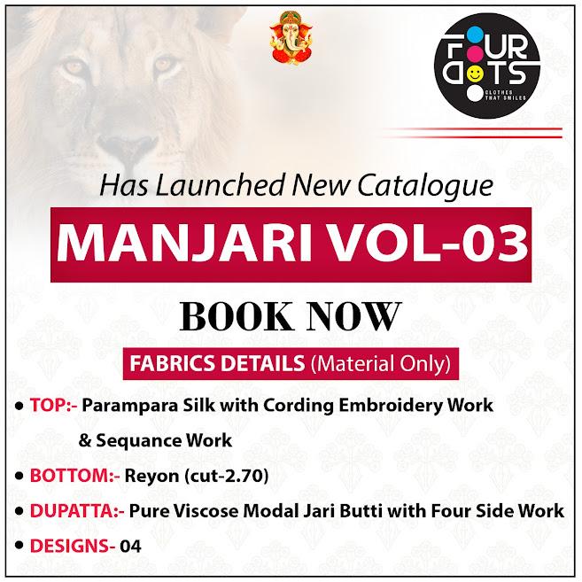 Four Dots Manjari Vol 3 Pant Style Suits Catalog Lowest Price