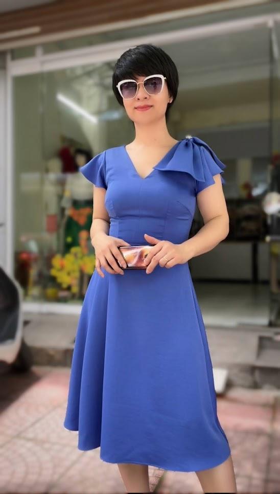 váy xòe midi công sở dạo phố thời trang thủy ở thủy nguyên