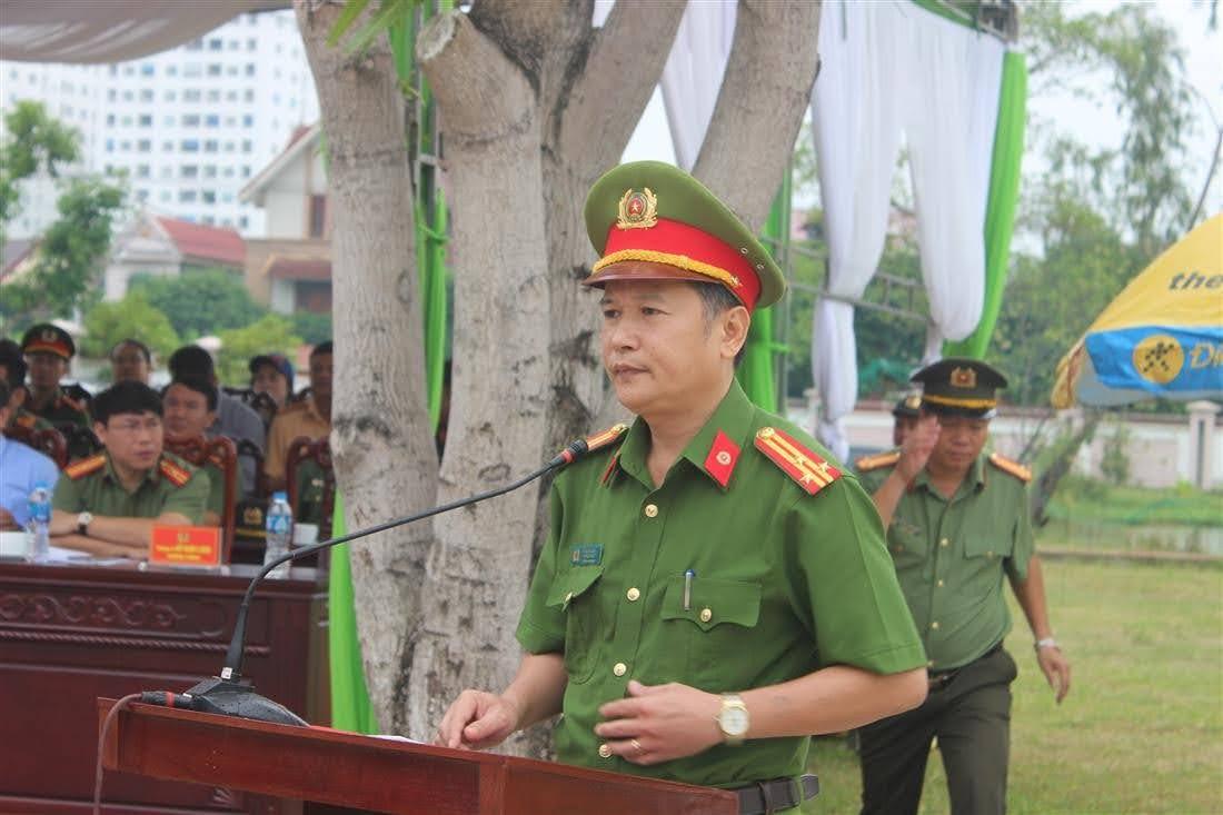 Đồng chí Thượng tá Hồ Nam Long, Trưởng Phòng Cảnh sát Cơ động phát biểu khai mạc buổi diễn tập.