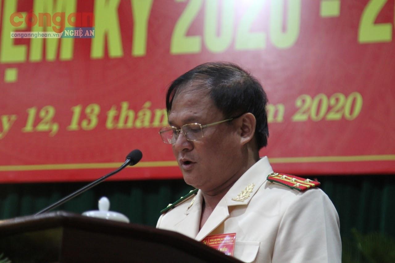 Đại tá Trần Thăng Long, Bí thư Đảng ủy, Trưởng phòng Hậu cần phát biểu khai mạc Đại hội