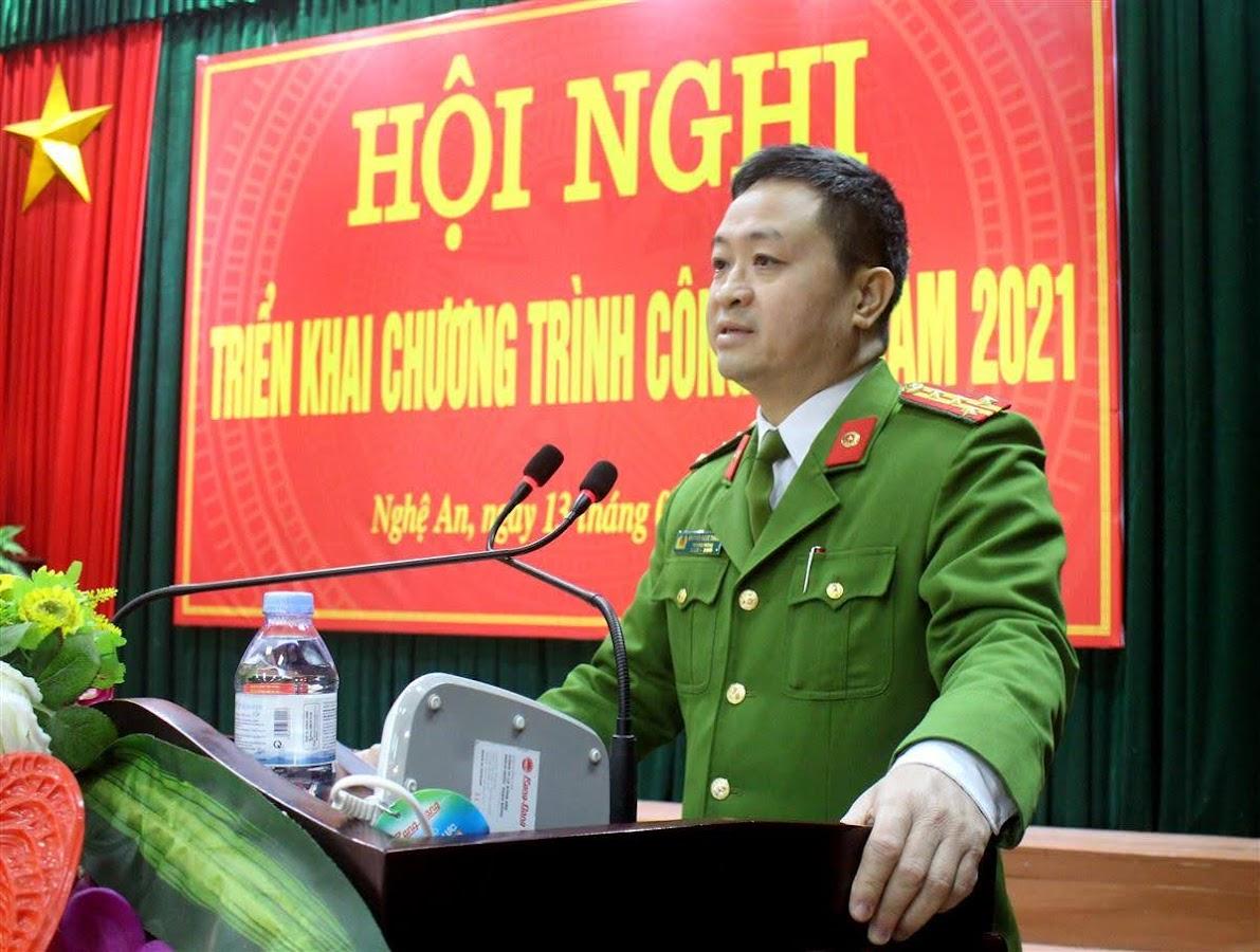 Đại tá Nguyễn Ngọc Thanh, Trưởng phòng phát biểu tại hội nghị