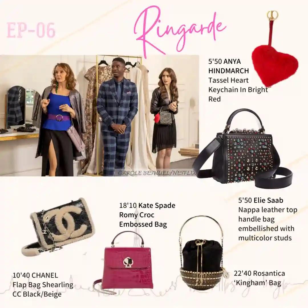 Emily in Paris Episode06 ringarde bag heart tassel anya saab rosantica kingham bag