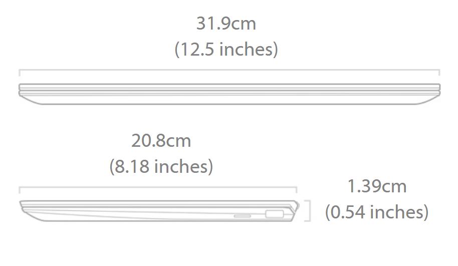 Asus ZenBook Laptop Measurements
