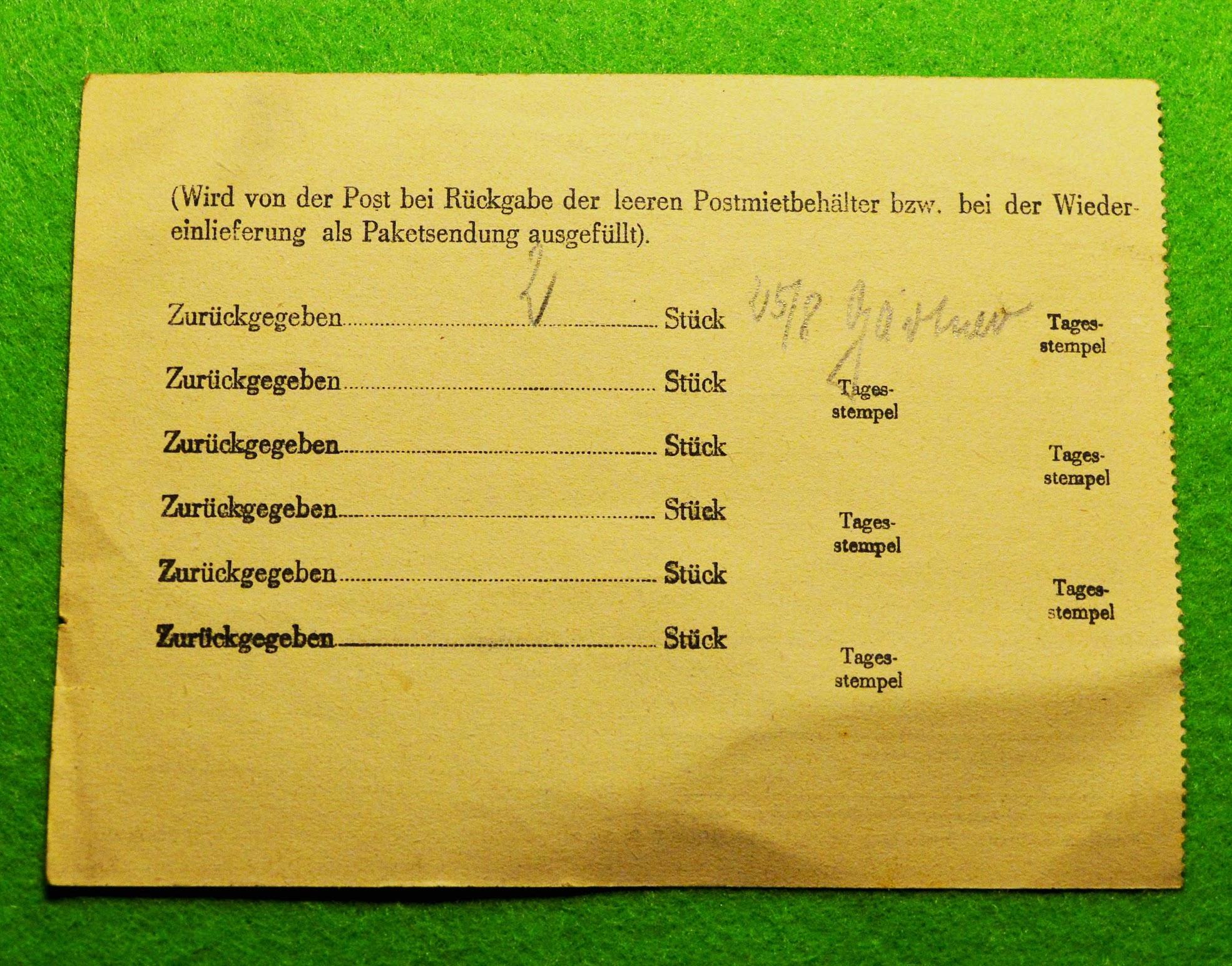 Formular zur Ausleihe eines Postmietbehälters, 1956, DDR