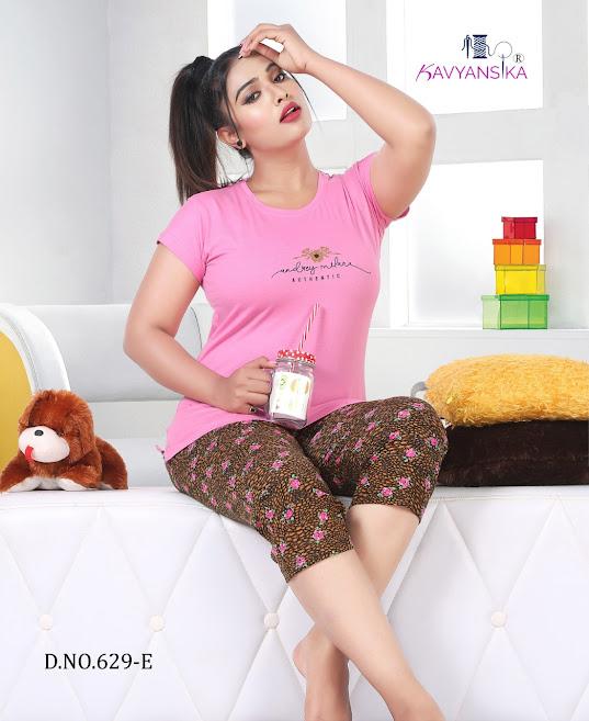 Vol 629 Kavyansika Capri Night Suits Manufacturer Wholesaler