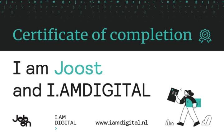 Certificaat verkregen op 17 juli 2020 via samenwerking JobOn en I.AMDIGITAL