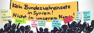 Zeichnung: Demonstrierende «Kein Bundeswehreinsatz in Syrien. Nein! Nicht in meinem Namen».