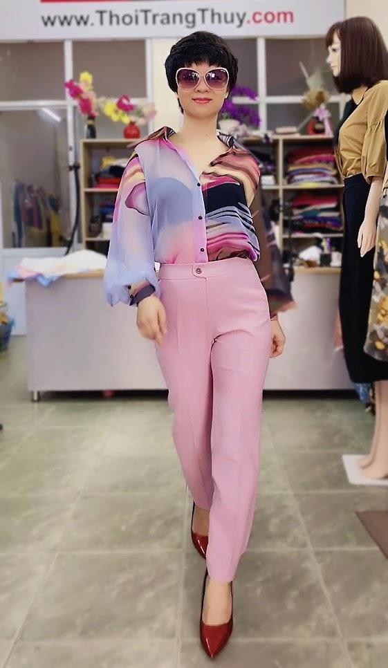 Áo sơ mi nữ mix đồ với quần baggy màu hồng V732 thời trang thủy hải phòng