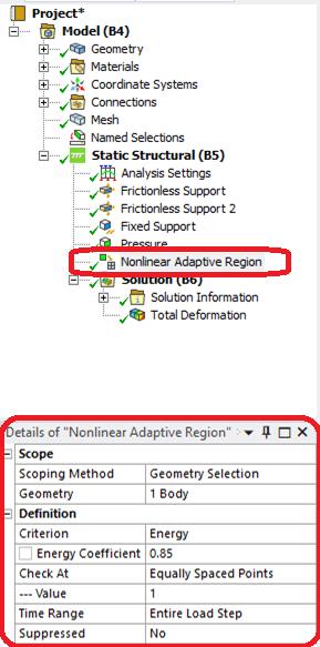 Для включения перестроения сетки в модуле Workbench Mechanical необходимо добавить инструмент «Nonlinear Adaptive Region»