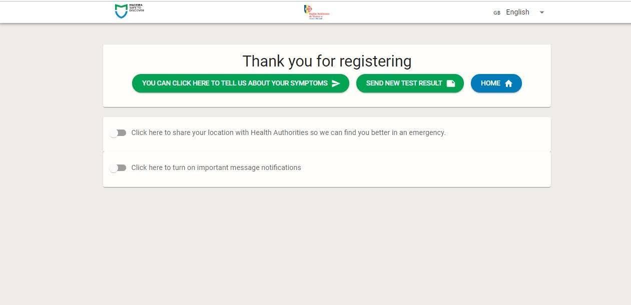 Na registratie kun je aangeven hoe je je voelt, ook na de covid-test op Madeira krijg je deze vraag regelmatig.