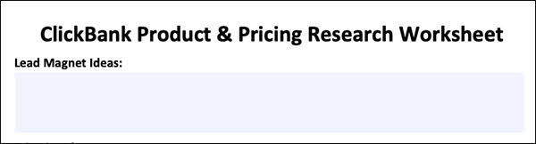 ClickBank Product and Pricing Research Worksheet