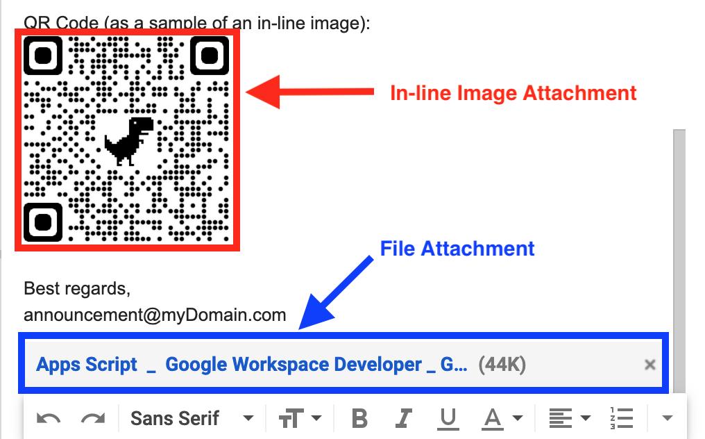 通常の添付ファイルとインライン画像のスクリーンショット例