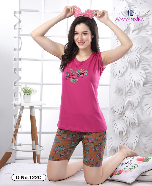 Kavyansika Sleeveless Vol 122 Shorts Night Suits Catalog Lowest Price