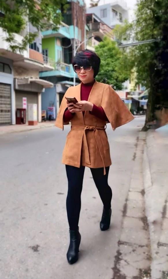 Áo khoác Cape nữ mix quần legging V748 thời trang thủy ở huế