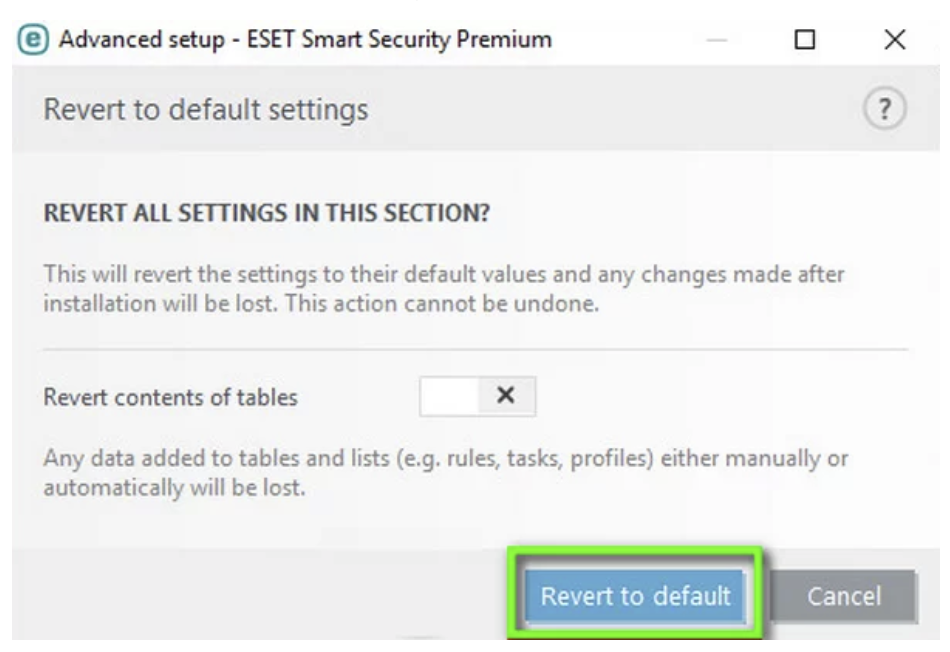 Revert default settings