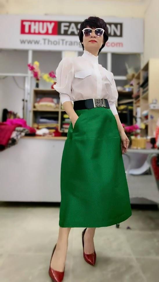 Áo sơ mi nữ tay bồng cao cổ và chân váy dài V751 thời trang thủy quảng ninh