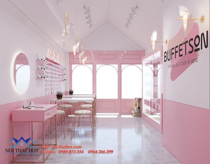 thiết kế shop mỹ phẩm màu hồng