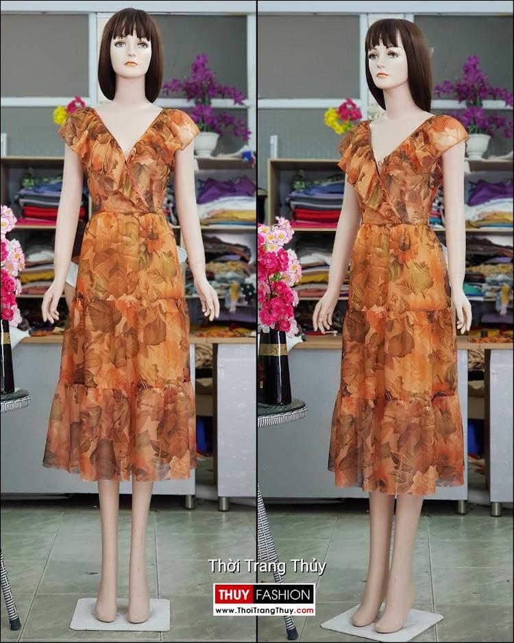 Váy đầm xòe mặc dự tiệc đi biển cổ chữ V717 thời trang thủy hà nội