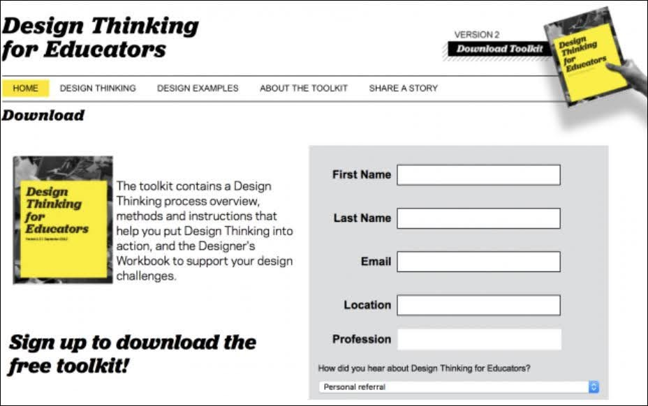 Design Thinking for Educators offers this free toolkit as a Lead Magnet.