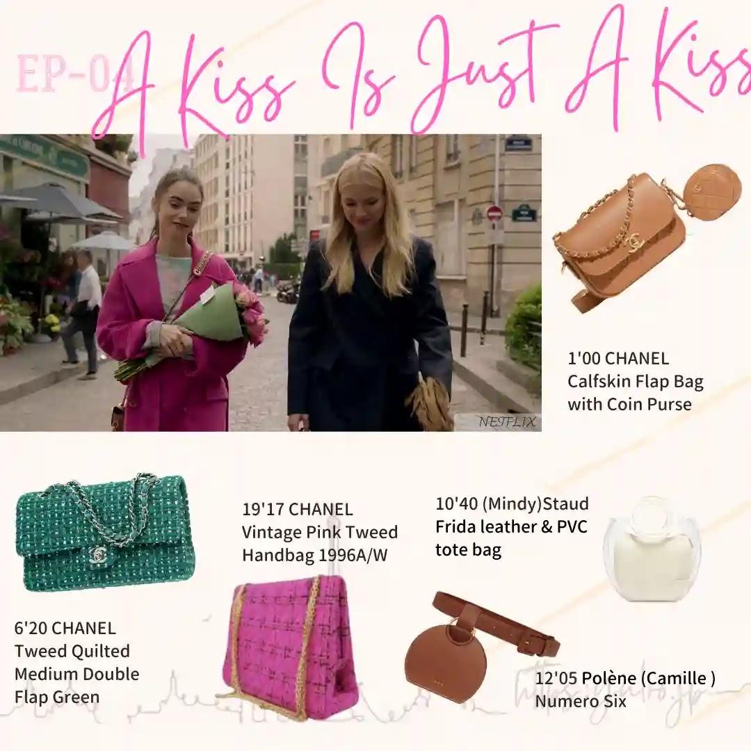 Emily in Paris Episode04Chanel 1996 tweedbag staud polene pvc bag purse