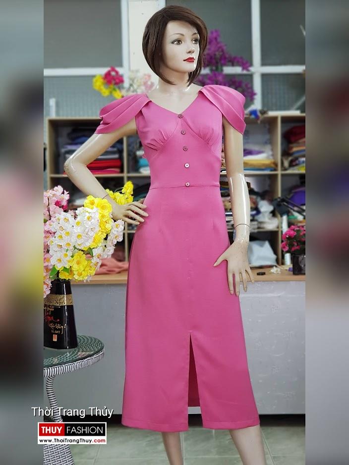 Váy dự tiệc tay bồng xếp ly màu hồng V718 thời trang thủy quảng ninh