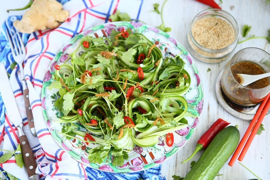 Cucumber and Cilantro Salad with Ginger Garlic Dressing