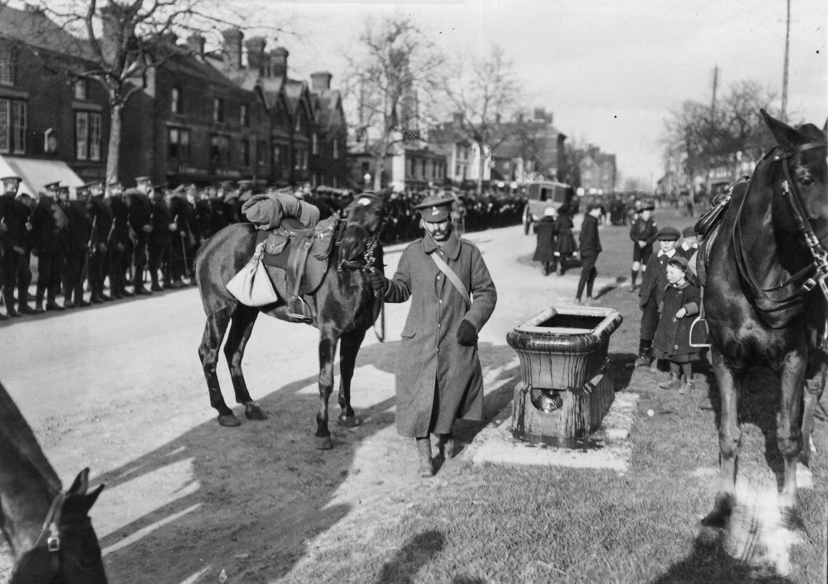 The Buffs 5th Batt in 1914 and the water trough in Tenterden High Street