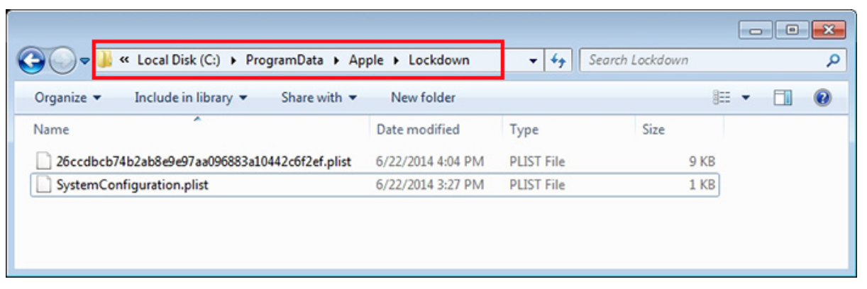 Reset iTunes Lockdown folder in Windows