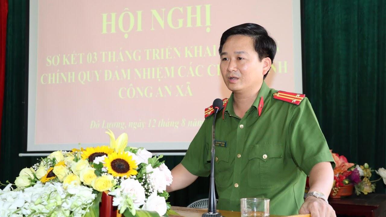 Trung tá Chu Quang Thành phát biểu tại Hội nghị