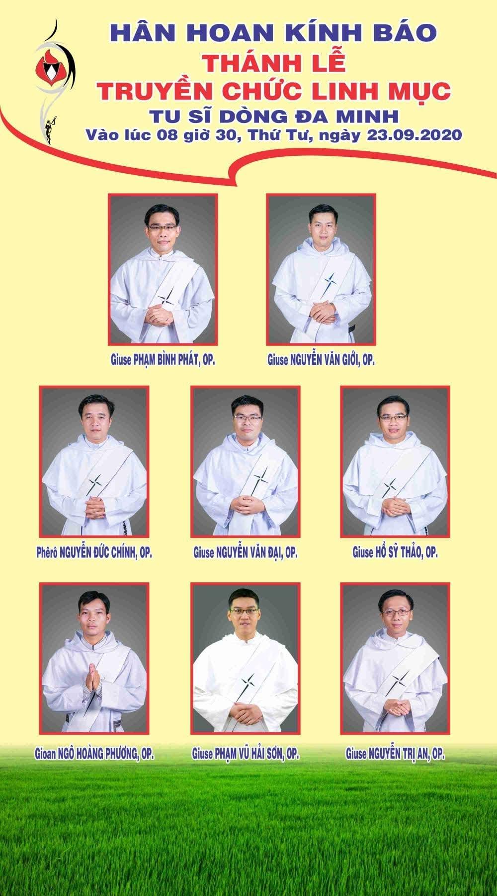 Thông báo: Truyền chức linh mục Dòng Đa Minh 2020