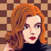 Pixel art portrait of a red haired woman