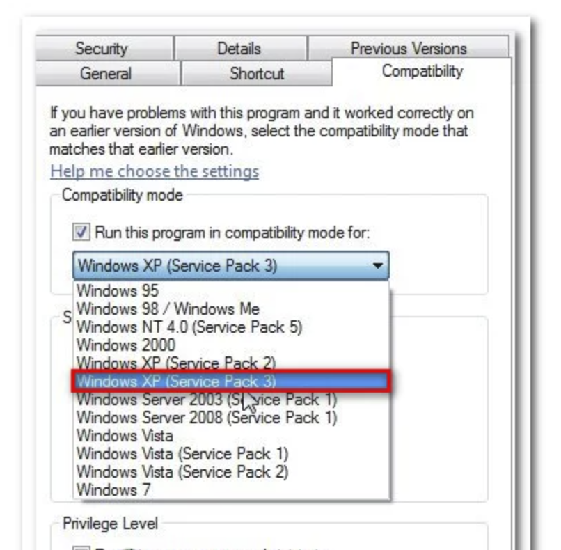 Check the Run this program in compatibility mode for option and select Windows XP (Service Pack 3) or Windows 7 from the drop-down menu.