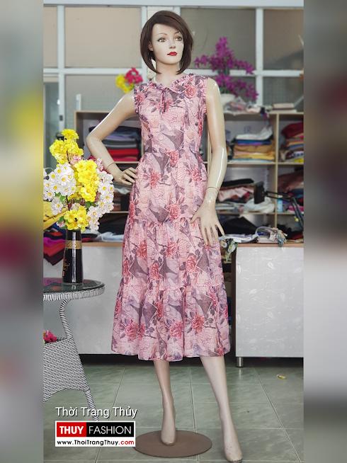 Váy xòe midi sát nách hoa mặc đi biển dự tiệc V725 thời trang thủy hà nội