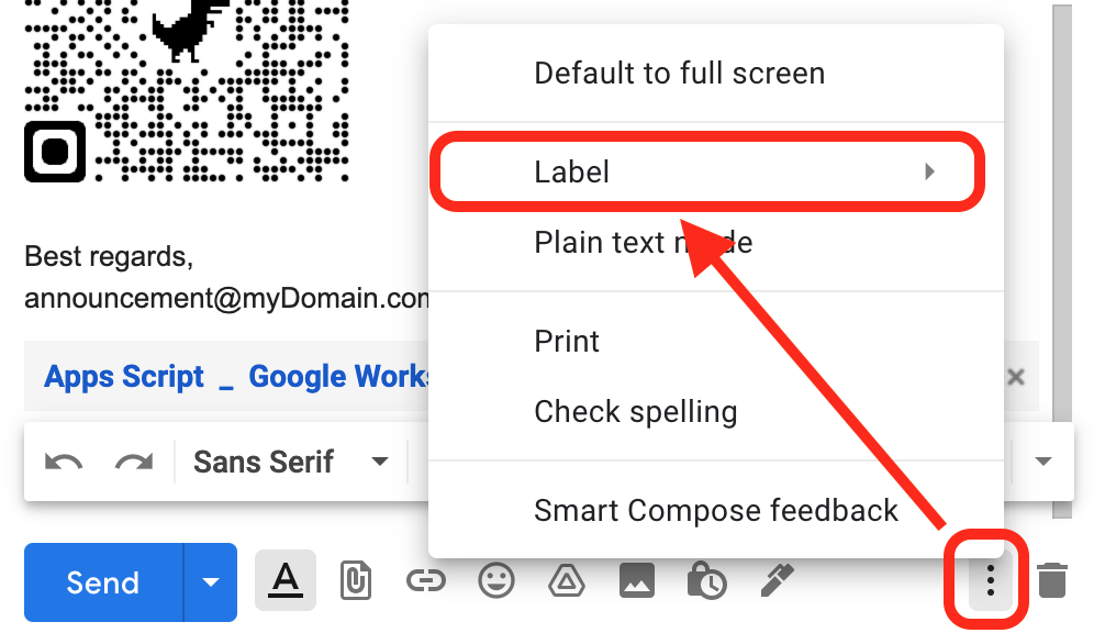 Attaching labels to Gmail drafts