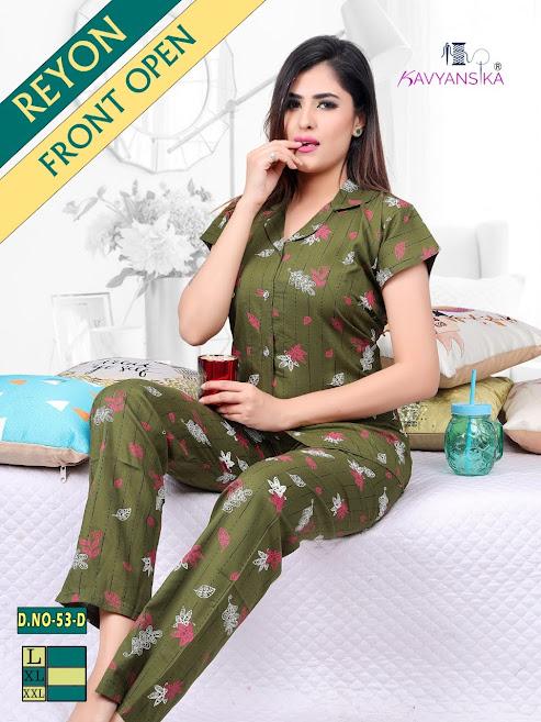 Kavyansika Rayon Collar Night Suit Vol 53 Women Night Suits Catalog Lowest Price