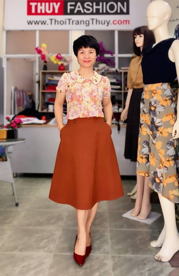 Mix đồ áo sơ mi với chân váy xòe midi V734 thời trang thủy sài gòn
