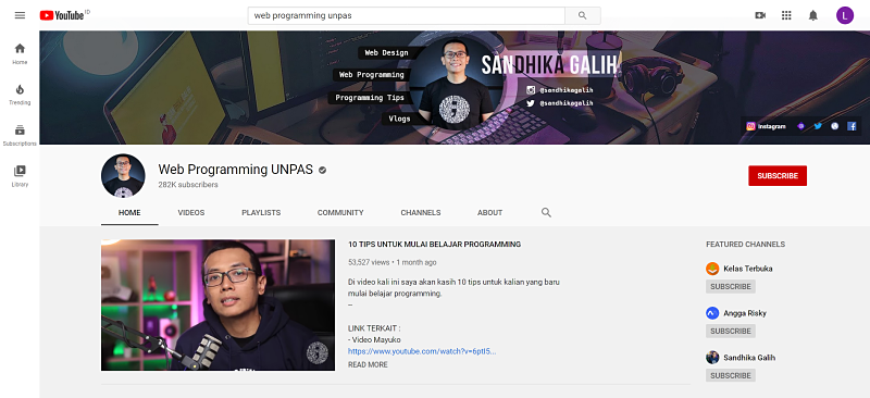 Belajar Coding di Channel Youtube Web Programming Unpas
