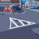 Pixel art illustration of a Japanese street