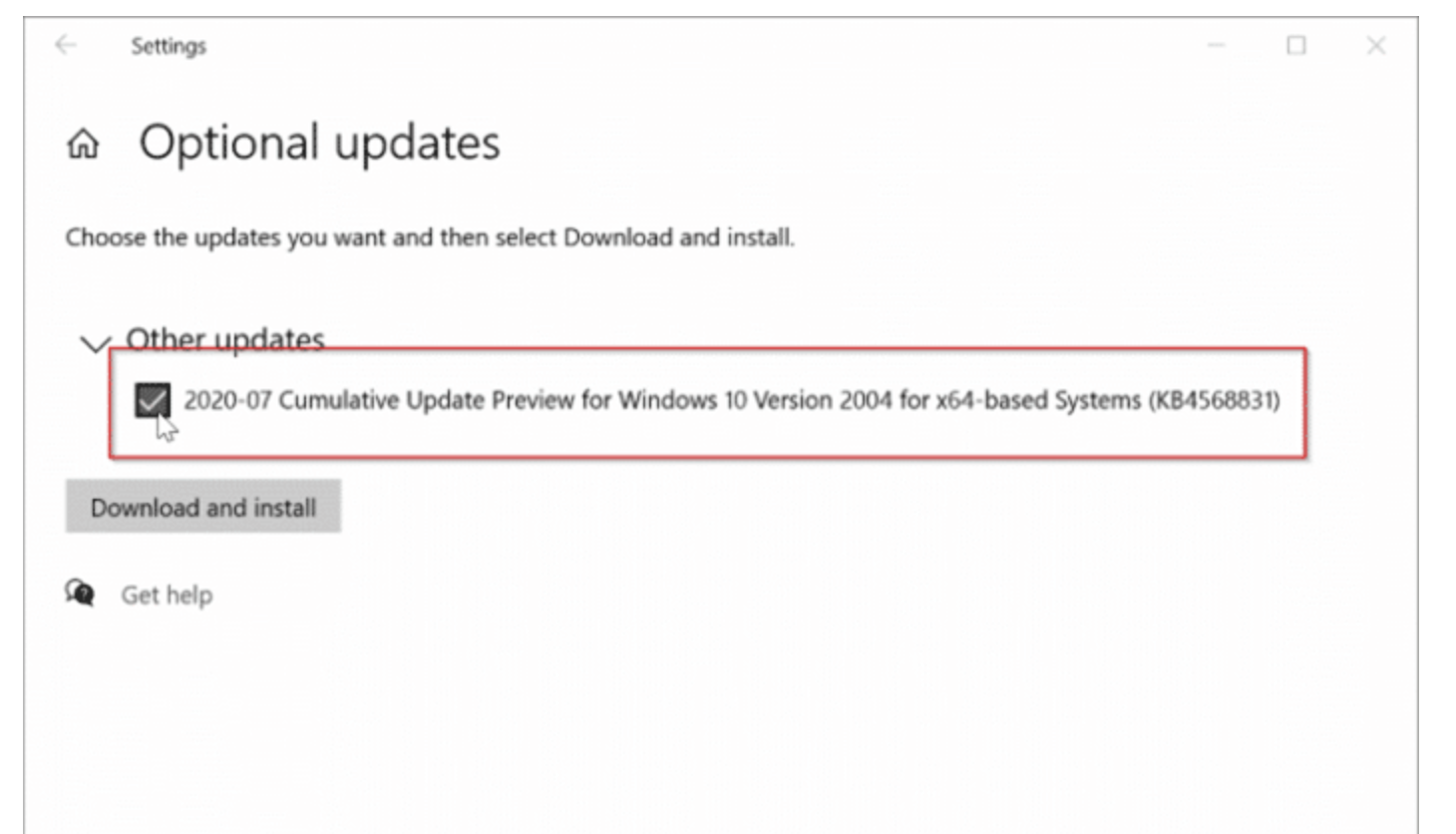 Check all the optional updates then click the Download and install button.