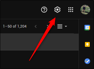 Click the gear icon in the top right corner to open the Gmail Settings menu.