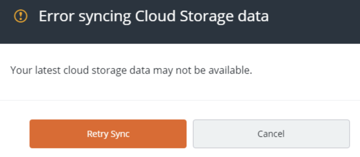 ERROR SYNCING CLOUD STORAGE DATA with Retry Sync option
