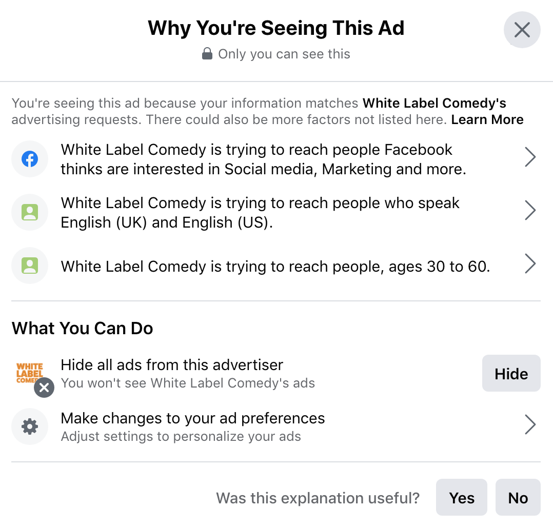FB Why am I seeing this ad - Signal刊登廣告攻擊Facebook