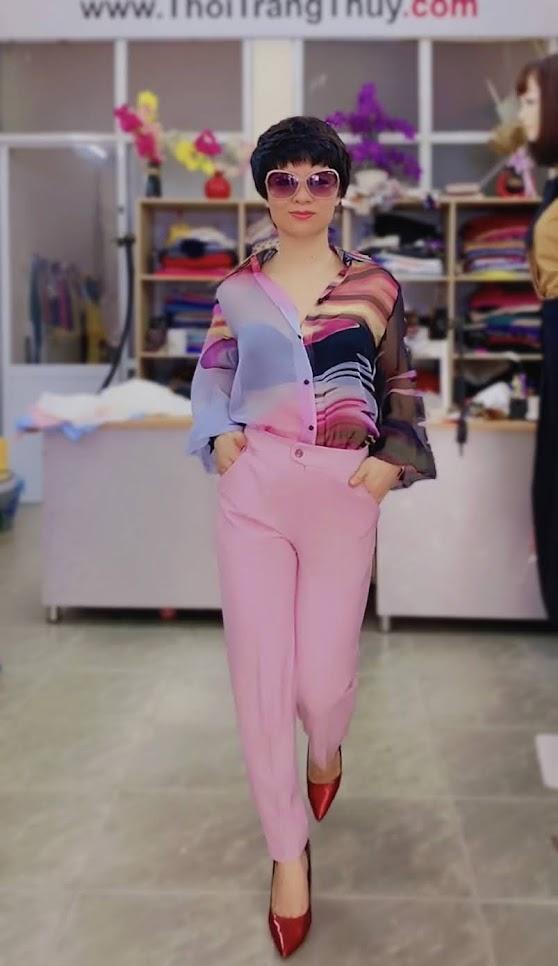Áo sơ mi nữ mix đồ với quần baggy màu hồng V732 thời trang thủy thái bình